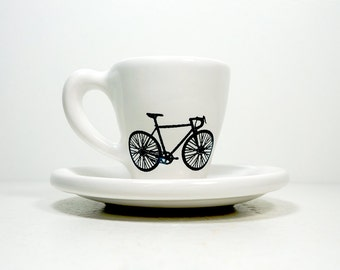 Tour de France. Espresso cup w/saucer (white jersey).  Made to Order.