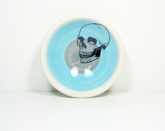 small dish, with a badass skull shown here on a color block of sky blue & storm, made to order.