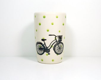 "18oz tumbler with what we like to call the ""speedy delivery"" bike on leaf polkadots, made to order/pick your colour"
