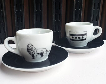 Ancap Espresso cup & saucer set of 2, with our Chicago Icons (flag + lion) prints.