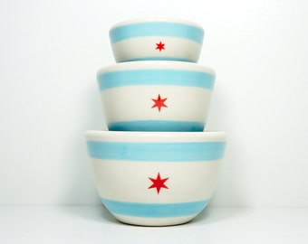 The Urban Set in the Chicago Flag design - Small Nesting bowls with tons of food or non-food uses