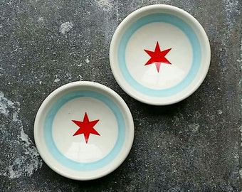 one super fabulous small dish with a Chicago Flag motif. Made to Order.