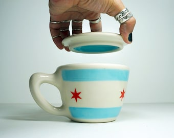 One (1) Chicago Flag 12oz cup/mug with Lid - Perfect for those of you who like to nurse your beverages, keep them hot, warm, protected
