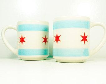 a SINGLE fantastic 15oz coffee mug/tea mug with a Chicago Flag motif. Made to Order.