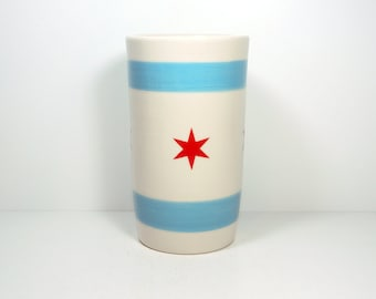 Cylinder Vase / Utensil Holder / Utensil Crock with the Chicago Flag motif, Made in Chicago