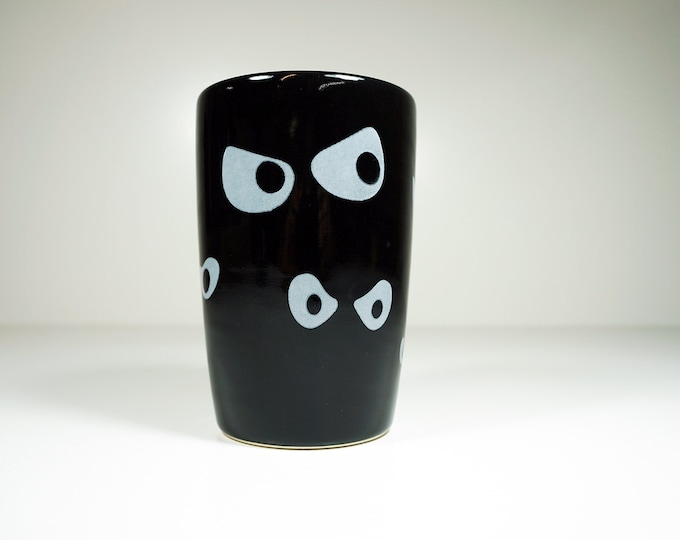 Featured listing image: Jeepers Peepers! 18oz tumbler in our Blackest Black glaze, for your spooky Halloween liquids or dead flowers