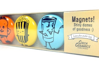 magnet set of happy snacks. (3pk)