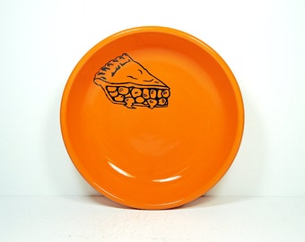 lo bowl with a slice of pie print, shown on a Creamsicle orange, Made to Order / Pick Your Colour