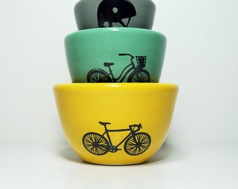 Small Nesting Bowls w/bike theme - The Urban Set for the Cyclist, in Lemon Butter, Blue Green & Storm