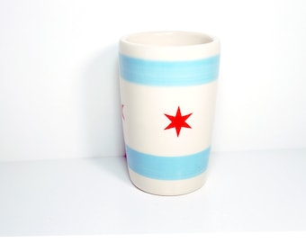 18oz tumbler with the Chicago flag. Made to Order, smoothies/coffee/beer tumbler