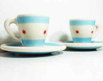 A soon to be cherished Pair of Espresso Cups w/Saucers in the Chicago Flag design
