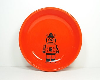 lo bowl with Robot prints, shown on Clementine Orange, Made to Order / Pick Your Color / Pick Your Print