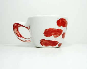 A Slightly Unsightly Murder Mug, shown here in 12oz size, glazed white. Made to Order.