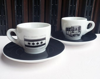 Ancap Espresso cup & saucer set of 2, with our Chicago Icons (flag + train) prints.