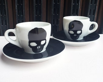 Ancap Espresso cup & saucer set of 2, with our Dark Skull prints.