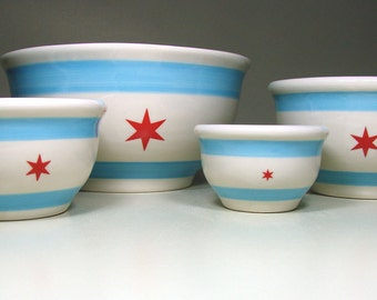 a modern handcrafted statement bowl set of 4 for mixing-serving w/the Chicago Flag design. Made to Order.