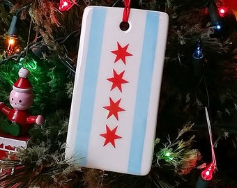 NEW. Chicago Flag Holiday Ornament or Gift Tag for pure Merriment & Decoration.