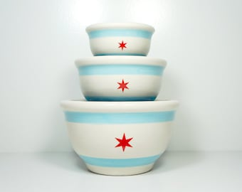 NESTING  Serving Bowl set with the Chicago Flag design - Easy to put away,a great Wedding Gift, New Home Gift