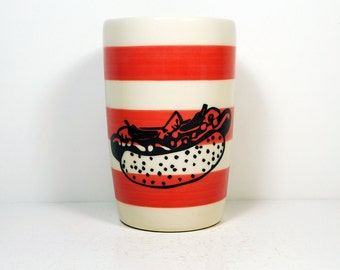 18oz tumbler featuring a Chicago Hot Dog print on Red-Orange stripes. Made to Order / Pick Your Colour