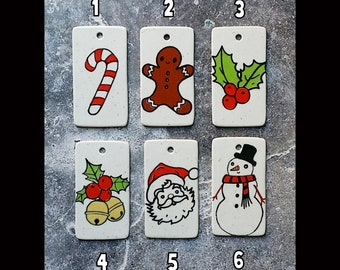 NEW. Holiday Ornament/Gift Tags for pure Merriment & Decorations - Candy Cane, Gingerbread Man, Holly Berries, Jingle Bells, Santa, Snowman