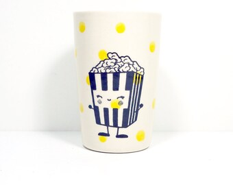 itty bitty cylinder / vase / cup with a happy popcorn print on lemon butter yellow polkadots, Made to Order/Pick Your Color