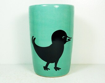 18oz smoothies/coffee/beer/water tumbler or vase with a Blackbird print shown here on Blue Green. Ready to Ship.