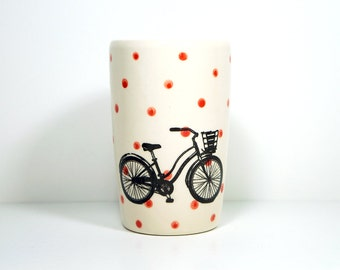 18oz tumbler speedy delivery, with bright red polkadots. Made to Order/Pick Your Colour