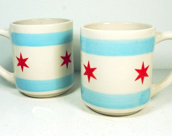 STACKABLE single fantastic 15oz coffee mug/tea mug with a Chicago Flag motif. Made to Order.