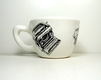 12oz cup with an Underwood typewriter print, shown here on white glaze - Made to Order / Pick Your Colour