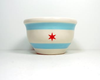 An Adorable Wee Bowl with the Chicago Flag design - Fits in the palm of your hand, perfectly fits one scoop of ice cream with toppings