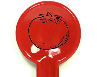 A Spoon Rest with a Plump Tomato print on Berry Red glaze. Pick Your Color/Pick Your Print