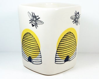 Bee Keeper's Vessel. Carefully Crafted Square Vessel /Utensil Holder/Vase of Awesome in a Bee Keeper's theme. READY TO SHIP