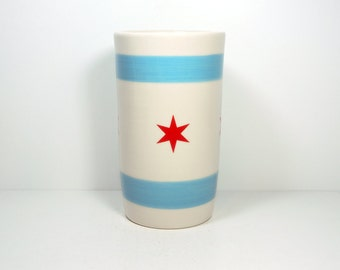cylinder vase / utensil holder with the Chicago Flag - Made to Order