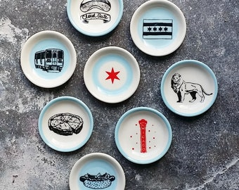 The Littlest Dish. Palm sized dishes for a myriad of things. Jewelry-Treats-Candles-Sauces-A Pinch of Salt- Tea bag - Chicago Icons Prints