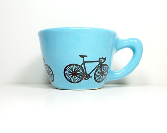12oz cup with a road bike print, shown here on cloudless blue glaze - Made to Order / Pick Your Colour