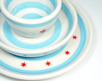 Chicago Flag. Simple 3 piece Place Setting (Made to Order)