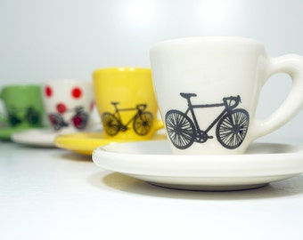 Tour de France. Never Dull & Always Awesome Espresso Cups with Saucers, set of 4, handmade from scratch - Made to Order.