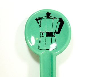 A Spoon Rest with a Moka Pot print on Blue Green Mint glaze. Pick Your Color/Pick Your Print