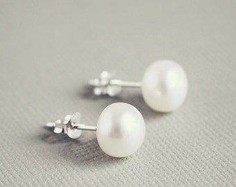 White freshwater PEARL studs, 9mm earrings on sterling silver posts