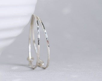 sterling silver hoop earrings with hammered facets Flint Hoops
