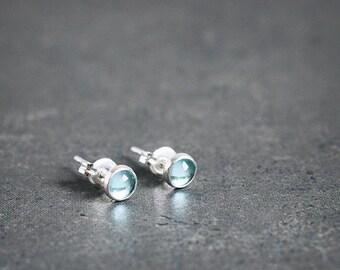 Caribbean blue APATITE 4mm stud earrings sterling silver posts