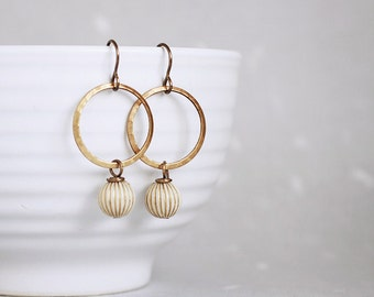 Modica Earrings - ivory gold fluted beads hammered brass hoops