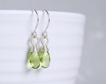 Apple green PERIDOT sterling silver wire wrapped earrings