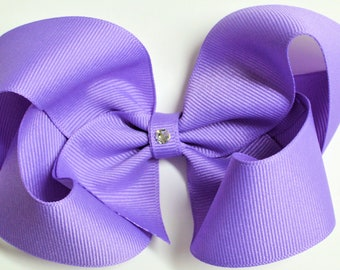 Lavender Boutique Hair Bow toddler bows baby bows no slip bows boutique bows small girls bows medium extra large 4 sizes large