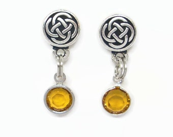 November Birthstone Celtic Round Knot Post Earrings with Dangling Swarovski Crystal Charms in Topaz