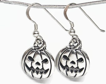 Halloween Pumpkin Jack O'Lantern Earrings Silver Plated Pewter with Sterling Silver Earwires Gift Boxed Scary Pumpkin Face