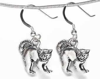 Halloween Hissing Cat Earrings Silver Plated Pewter with Sterling Silver Earwires Gift Boxed