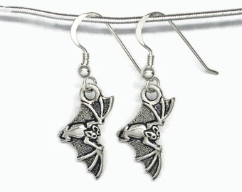 Halloween Bat in Flight Earrings Silver Plated Pewter with Sterling Silver Earwires Gift Boxed