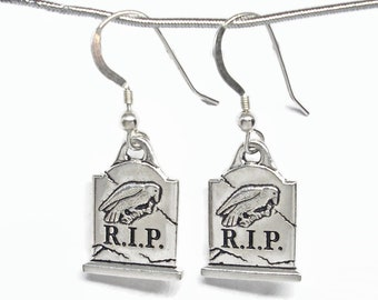 Halloween Creepy Graveyard Tombstone Earrings Silver Plated Pewter with Sterling Silver Earwires Gift Boxed Never More RIP