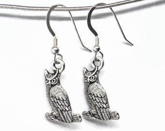 Halloween Spooky Owls Earrings Silver Plated Pewter with Sterling Silver Earwires Gift Boxed